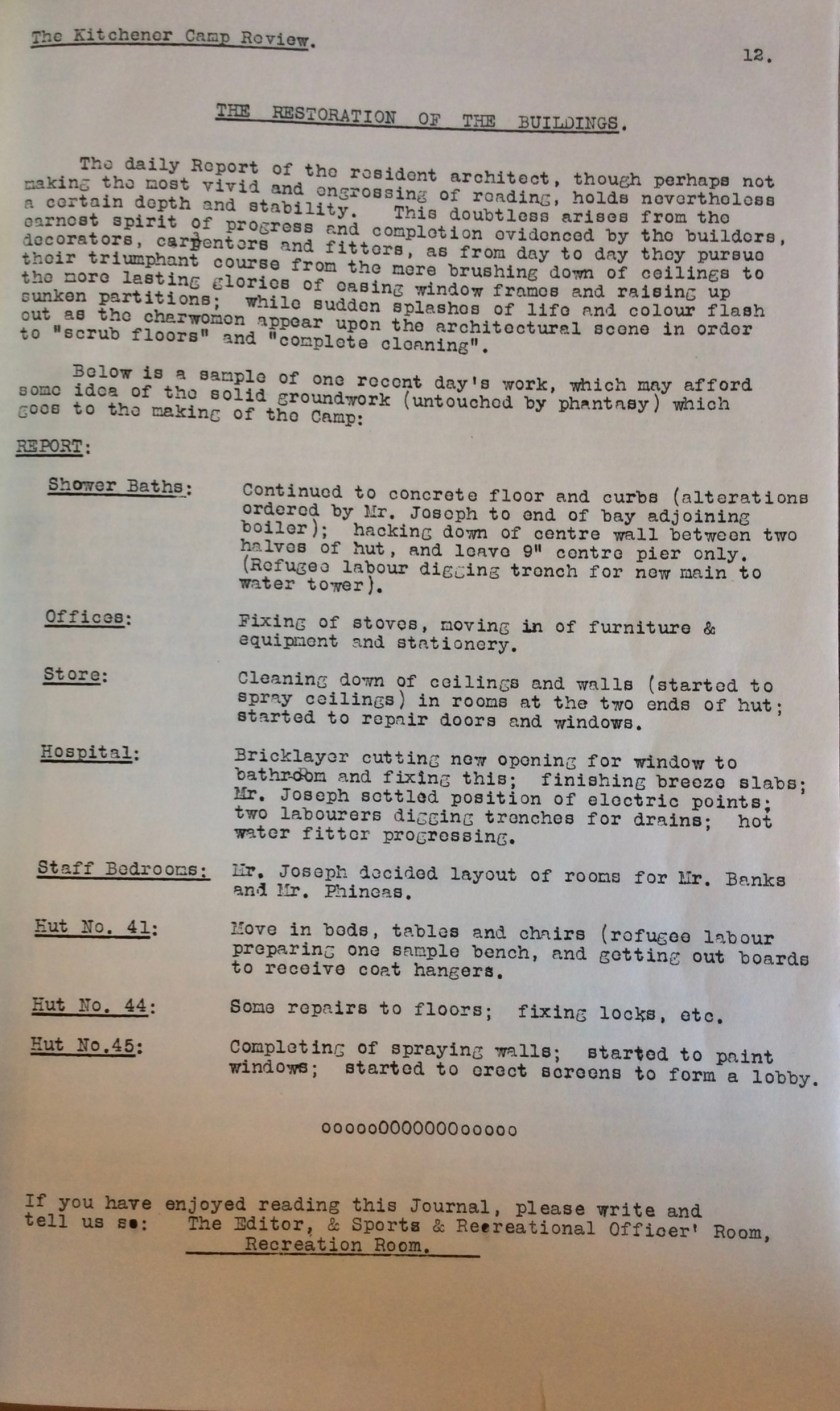 Kitchener Camp Review, No. 1, March 1939, page 12