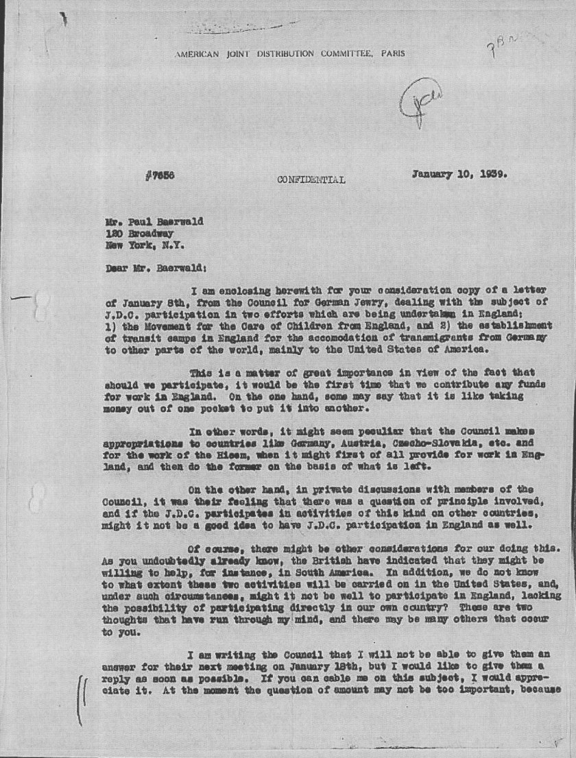 Kitchener camp, JDC, Paul Baerwald, Morris Troper, Letter, European Executive Council, HICEM funding, Query over whether British will help in South America, 10 January 1939, page 1.jpg