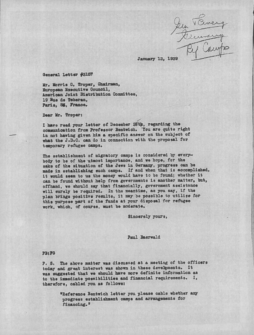 Kitchener camp, JDC, Letter, Morris Troper, Paul Baerwald, Professor Bentwich, Need for governmental assistance, 12 January 1939