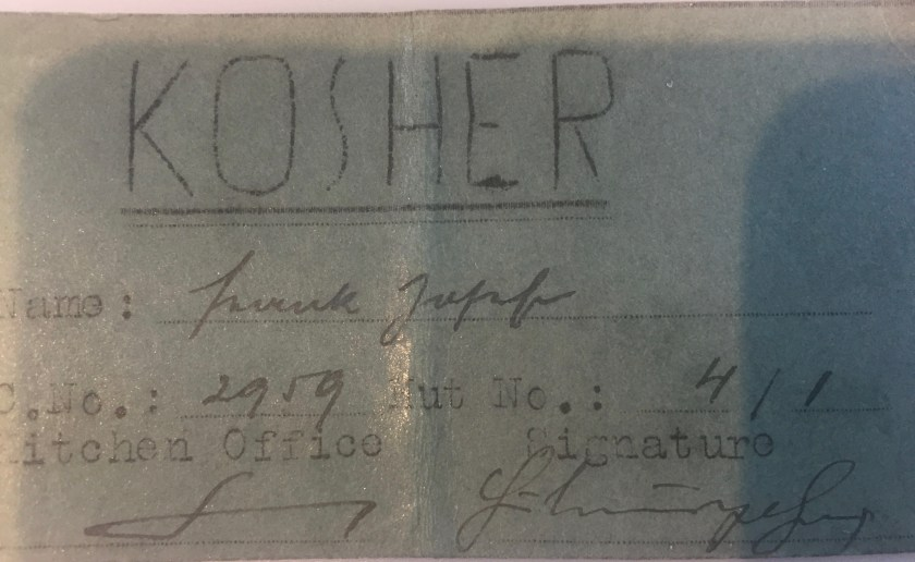 Richborough transit camp, Josef Frank, Kosher Kitchen Office ticket, Camp no. 2959, Hut no. 4/I