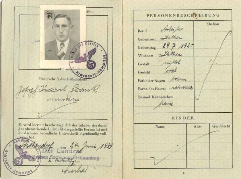 Richborough transit camp, Josef Frank, Reisepass, 24 June 1939