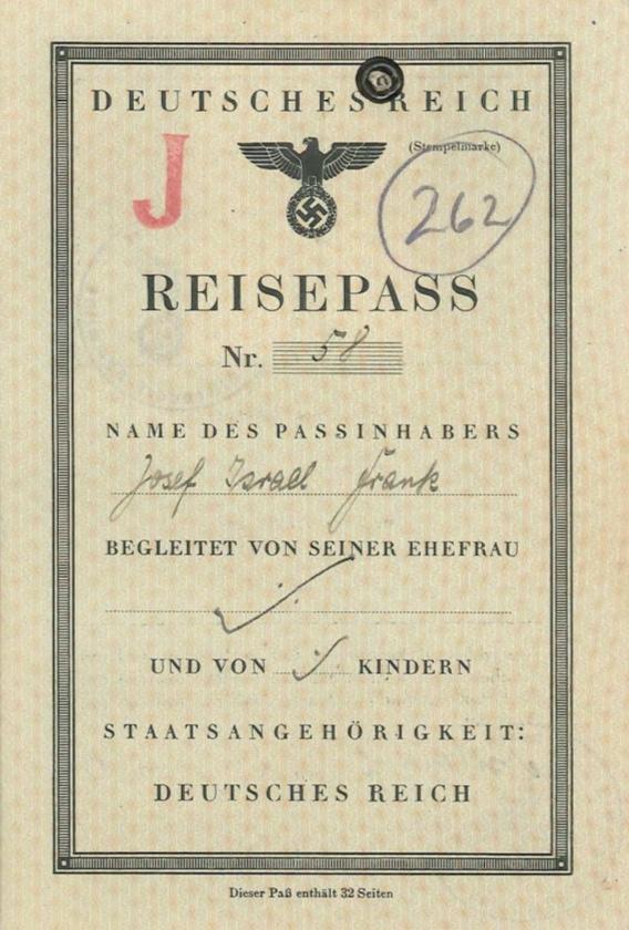 Richborough camp, Josef Frank, Reisepass no. 58, J