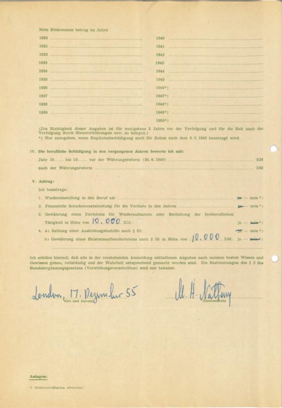 Kitchener camp, Max Heinz Nathan, Restitution claim, 17 December 1955