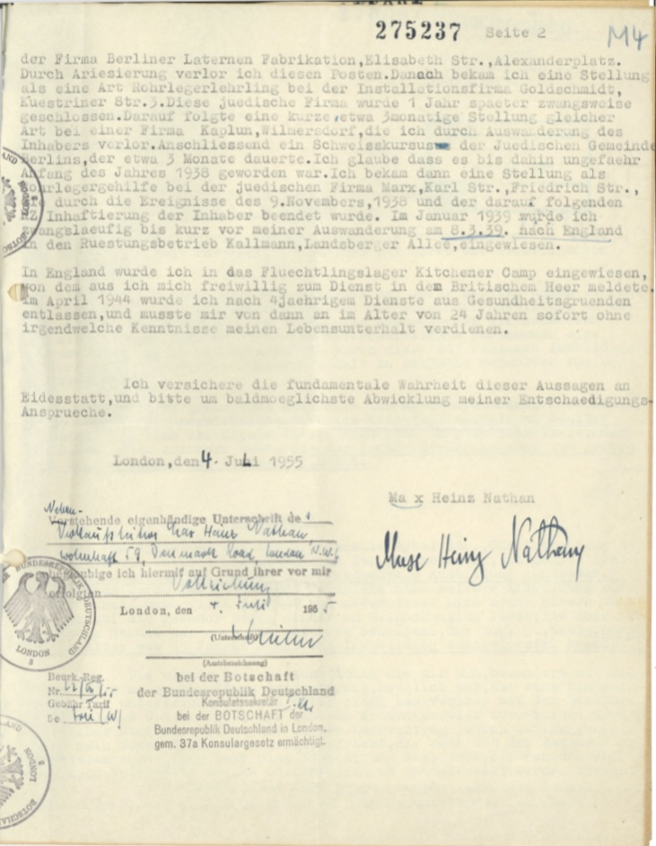Kitchener camp, Max Heinz Nathan, Restitution claim, 4 July 1955