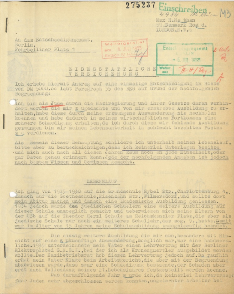 Kitchener camp, Max Heinz Nathan, Restitution claim, 6 July 1955