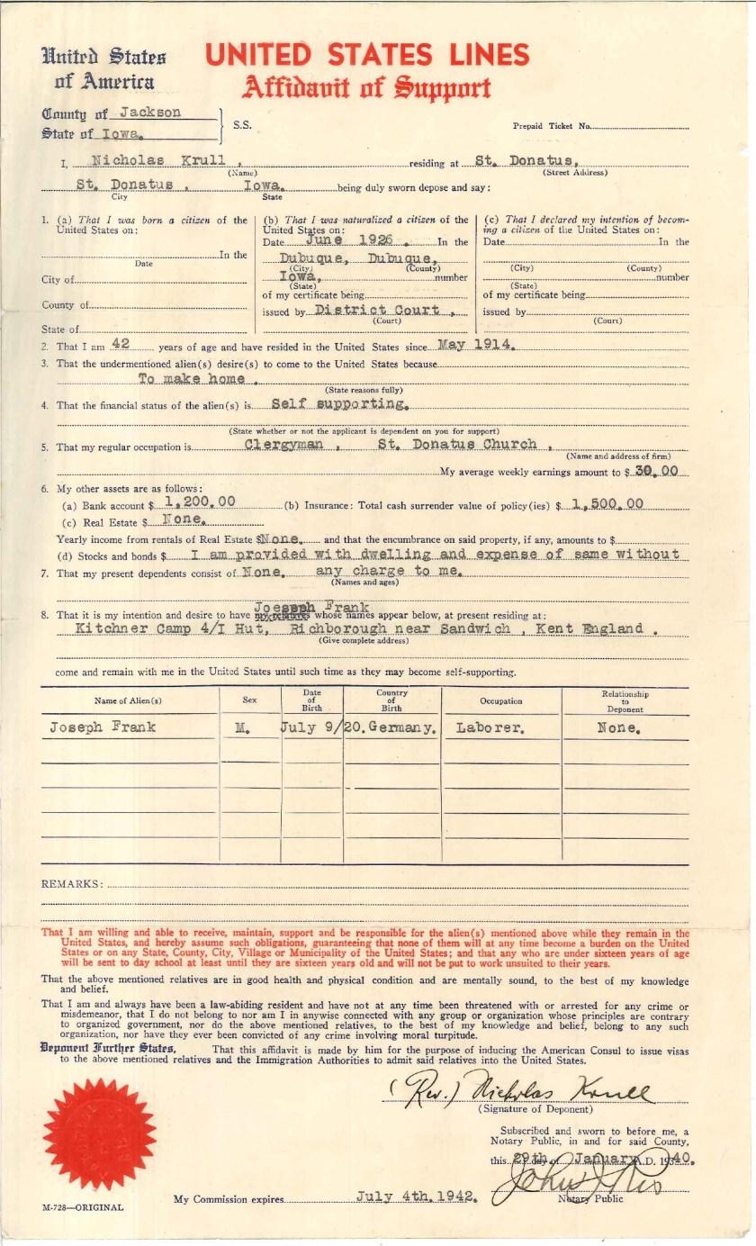 Kitchener camp, Josef Frank, Father Krull, US Lines Affidavit of Support, 29 January 1940