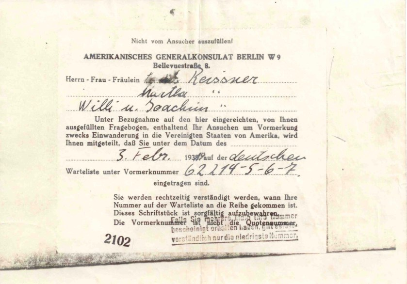 Richborough refugee camp, Willi Reissner, Joachim Reissner, American Consulate, Berlin, 3 February 1939, Waitlist number 62214-5-6-7