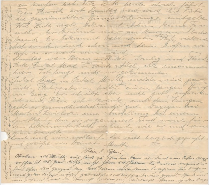 Kitchener camp, Willi Reissner, Letter, 25 July 1939, page 2
