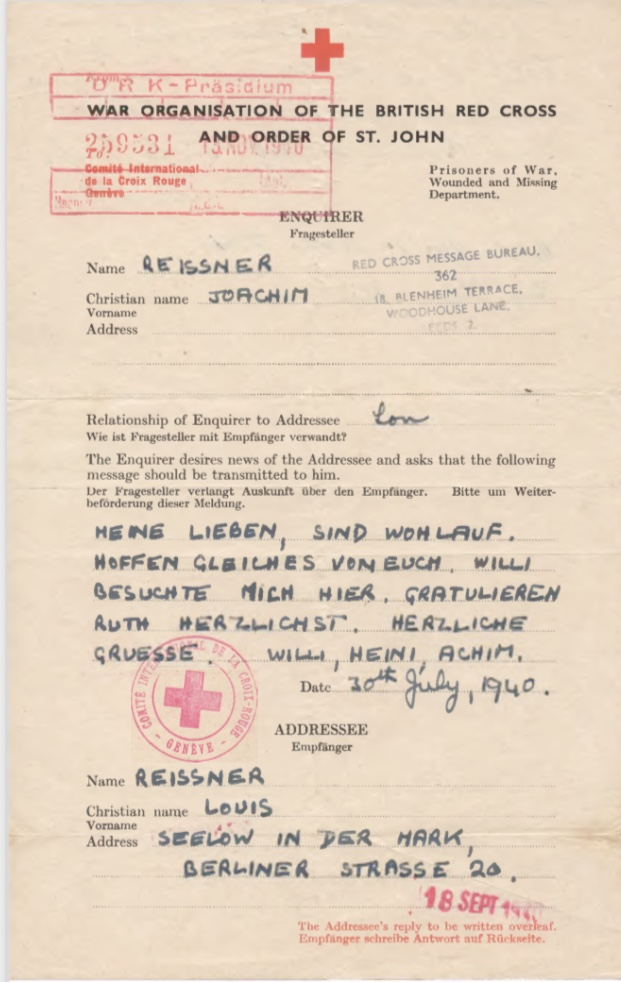 Richborough camp, Joachim Reissner, Red Cross letter, 30 July 1940, Stamped 15 November 1940, page 1