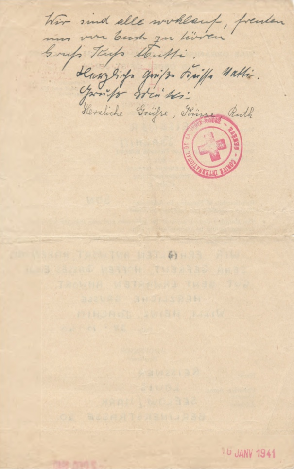 Richborough camp, Joachim Reissner, Red Cross letter, 28 October 1940, Stamped 4 January 1941, page 2