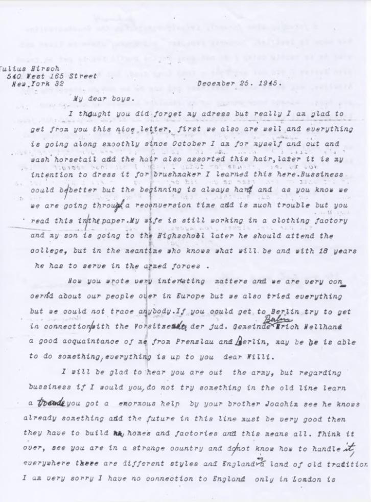 Kitchener camp, Willi Reissner, Joachim Reissner, Letter, New York, 25 December 1945, Postwar, Rebuilding, page 1
