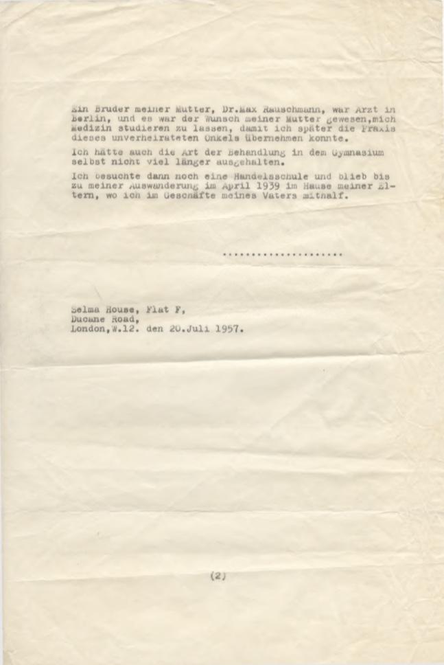 Kitchener camp, Willi Reissner, Eidesstattliche Versicherung, Conditions in Germany, 20 July 1957, page 2