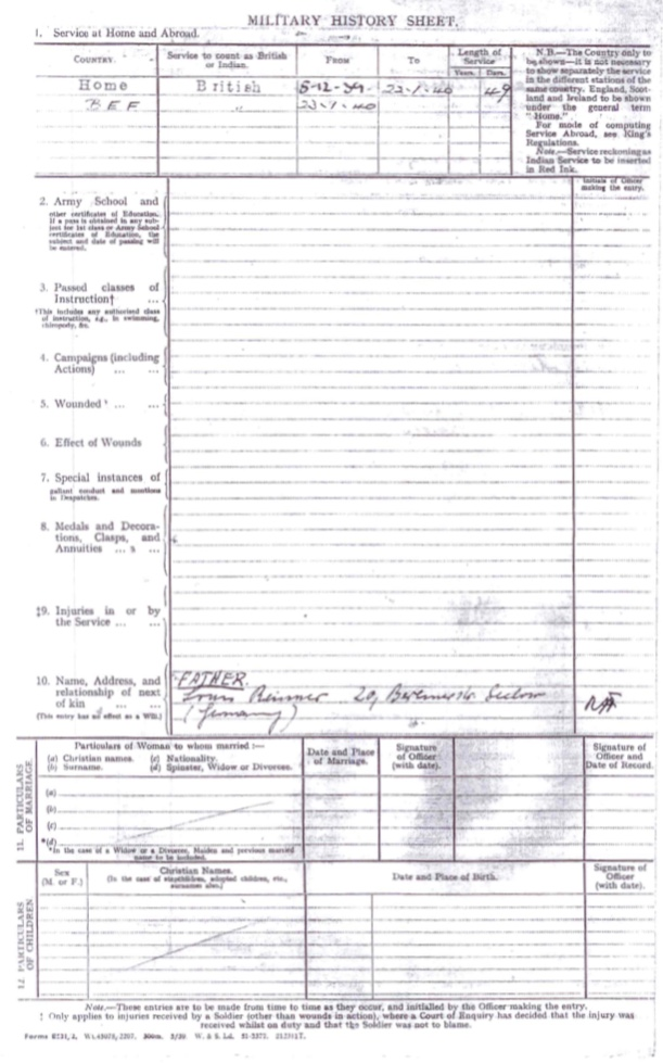 Kitchener camp, Willi Reissner, Territorial Army Form E 531, BEF, 5 December 1939, page 4