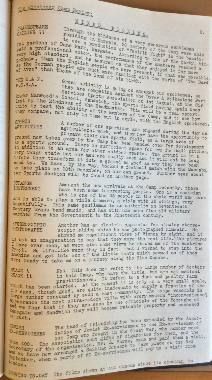 The Kitchener Camp Review, August 1939, page 2