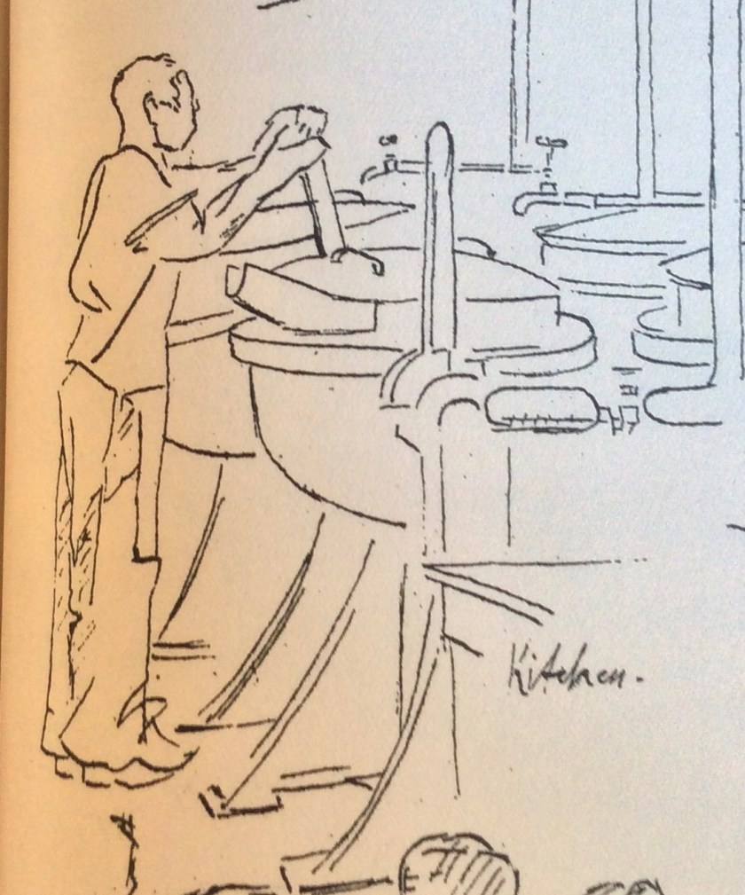 The Kitchener Camp Review, August 1939, Drawing detail, Kitchen, page 15