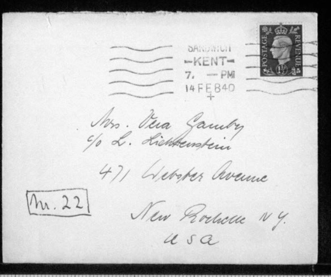 Kitchener camp, Werner Gembicki, Envelope, Letter 22, 14 February 1949