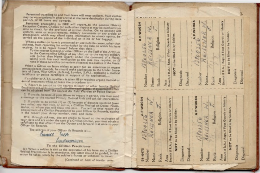 Kitchener camp, Willi Reissner, Army Book 64, Soldier's Service Pay Book, Pioneer Corps, Richborough, pages 3 and 4