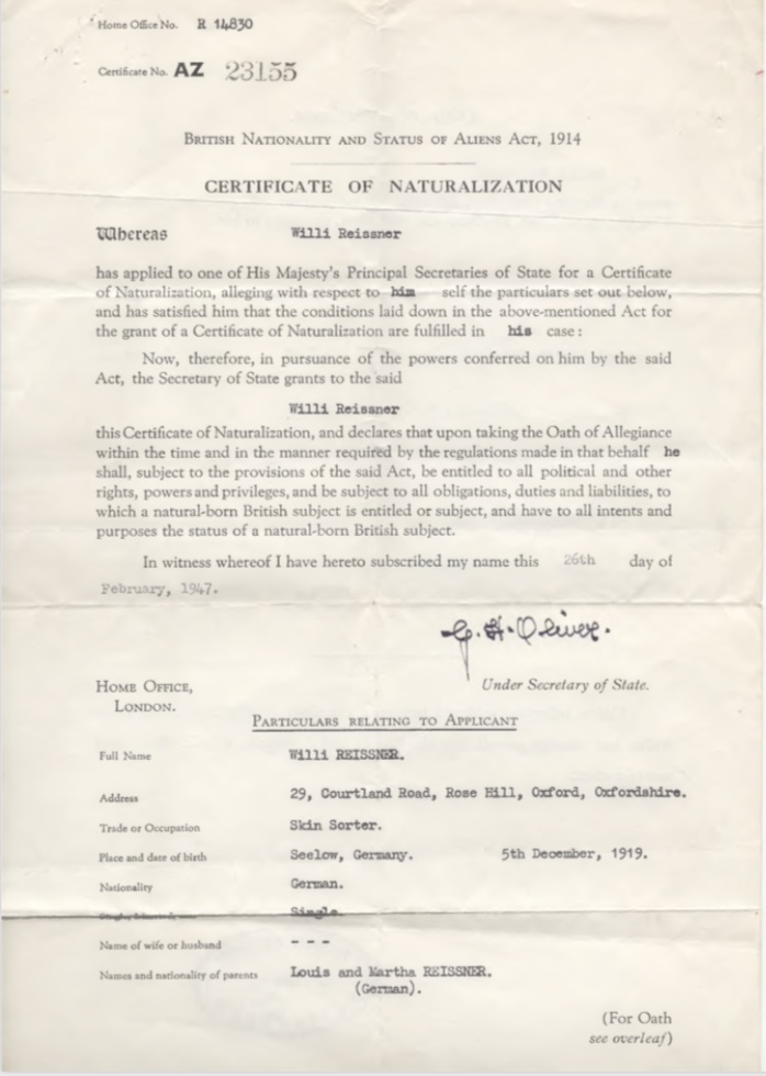 Kitchener camp, Willi Reissner, Certificate of Naturalization, 26th February 1947