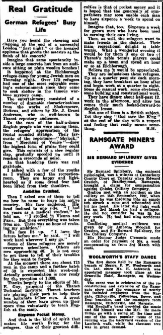 Kitchener camp, Article, Real Gratitude: German Refugees' Busy Life, Thanet Advertiser, 21 March 1939. Source: www.britishnewspaperarchive.co.uk