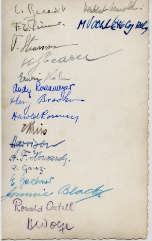 Willi Reissner, army photograph, reverse, names