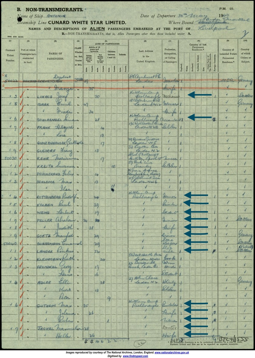 Kitchener Camp, ship list, Cunard White Star Antonia, 30 May 1940, Canada