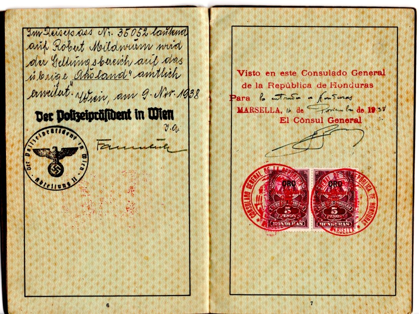 Kitchener camp, Robert Mildwurm, Deutsches Reisepass, German passport, Vienna 9 November 1938, Consulate of the Republic of Honduras 1938