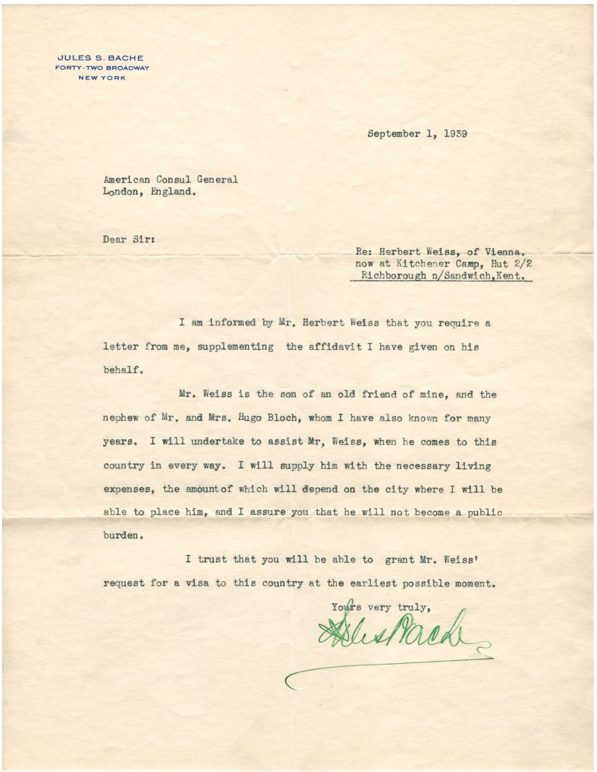 Kitchener camp, Richborough, Herbert Weiss, Hut 2/II, American Consul General, London, 1 Setember 1939, Jules S Bache, Affidavit, Letter