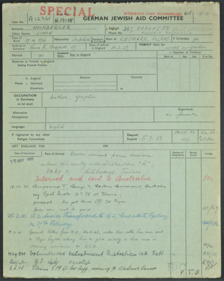 Kitchener camp, Simon Hochberger, German Jewish Aid Committee, Arrived in Britain, Kitchener, Richborough, HMT Dunera, Australia, Compound II, Camp 7, Eastern Command, Julian Layton, Australian Labour Corps, Missing luggage compensation claim