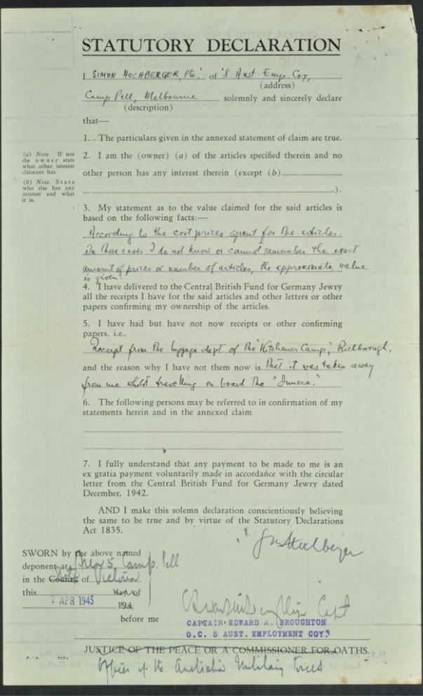 Kitchener camp, Simon Hochberger, Statutory Declaration, Luggage claim, Captiain Edward Broughton, OCS Australian Employment Company, 7 April 1943