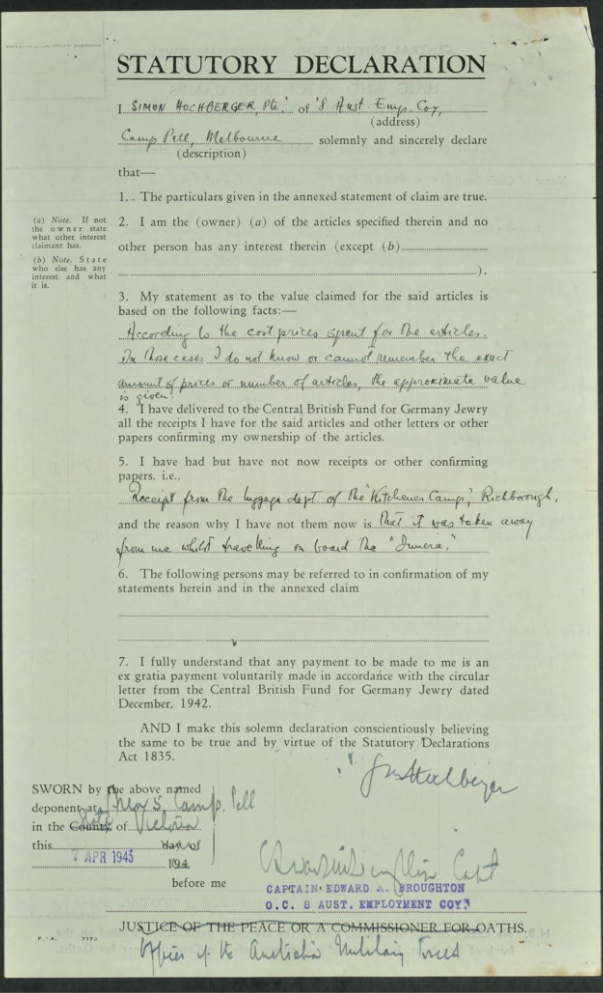 Kitchener camp, Simon Hochberger, Statutory Declaration, Luggage claim, Captiain Edward Broughton, OCS Australian Employment Company, 7 April 1943
