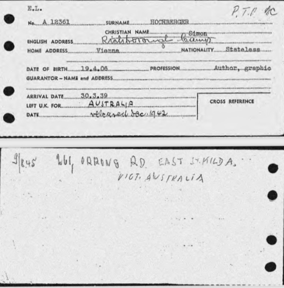 Kitchener camp, Richborough, Simon Hochberger, Arrival in Britain card, 30 March 1939, Australia, released December 1942