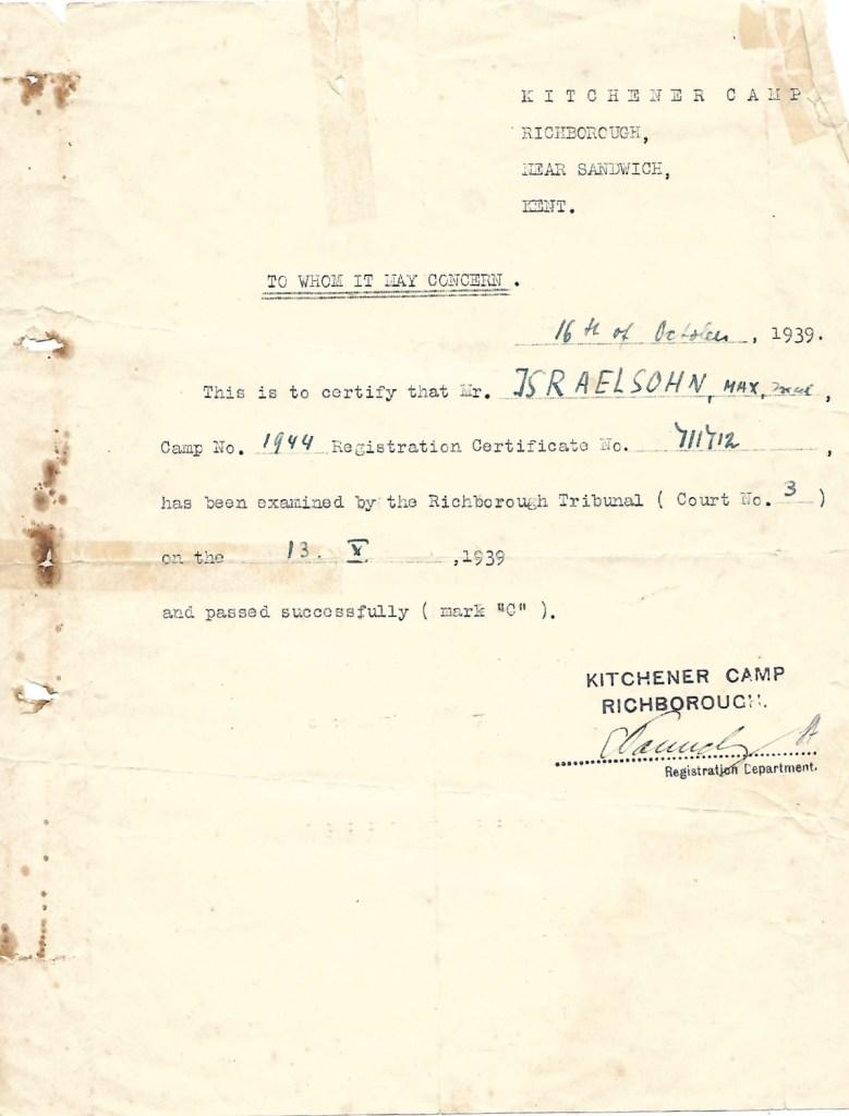 Kitchener camp, Max Israelsohn, Camp number 1944, Registration number 711712, Richborough tribunal no. 3, 13 October 1939