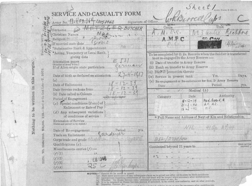 Kitchener camp, Max Metzger, Pioneer Corps, Army Form B103-I, Service and Casualty Form, AMPC, 1 February 1946