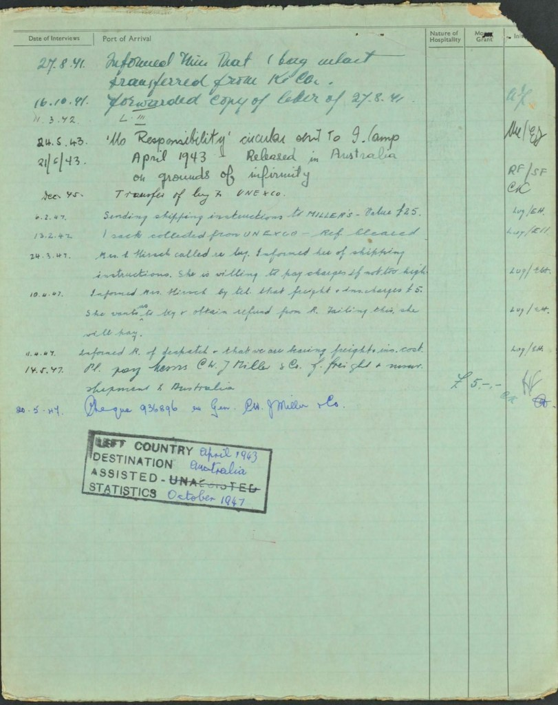 Kitchener camp, Isidor Wilkenfeld, World Jewish Relief forms, page 2, Left country April 1943, Destinaiton Australia, Assisted by aid society until 1947
