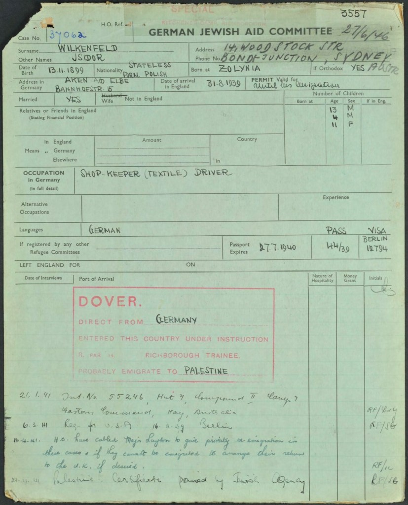 Kitchener camp, Isidor Wilkenfeld, World Jewish Relief forms, page 1, Shop keeper, textile driver, Probably emigrate to Palestine, Major Layton, Date of arrival in Britain 31 August 1939, permit valid until his emigration