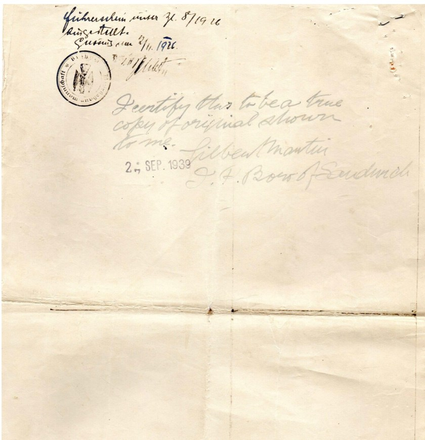 "Kitchener camp, Ignatz Salamon, Audit certificate, 22 October 1926, ""I certify this to be a true copy of original shown to me. Gilbert Martin [?] of Sandwich, 2(4?) September 1939"