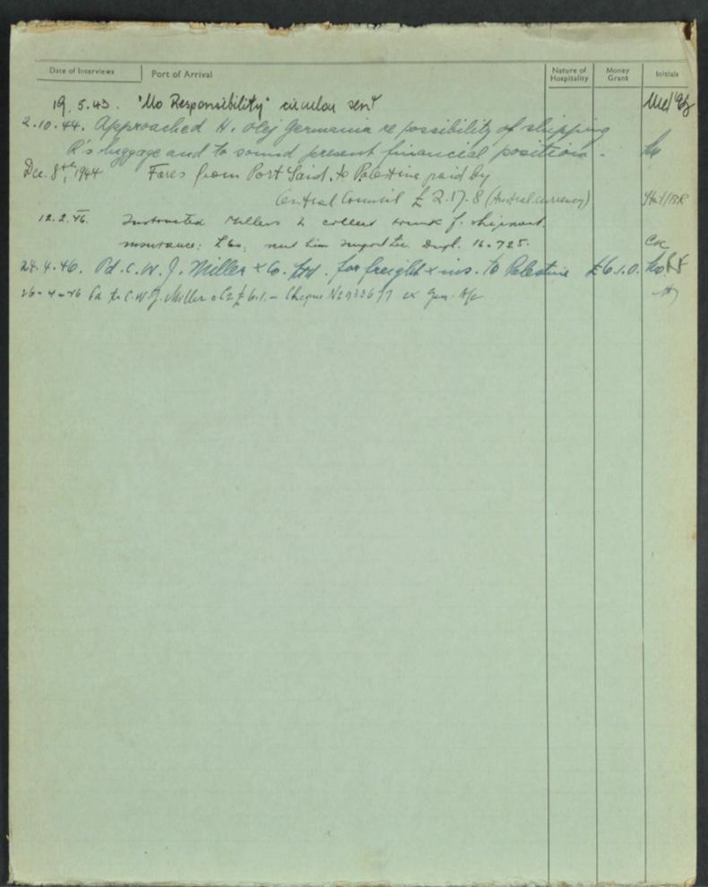 Kitchener camp, Isak Wenkart, German Jewish Aid Committeee forms, page 2