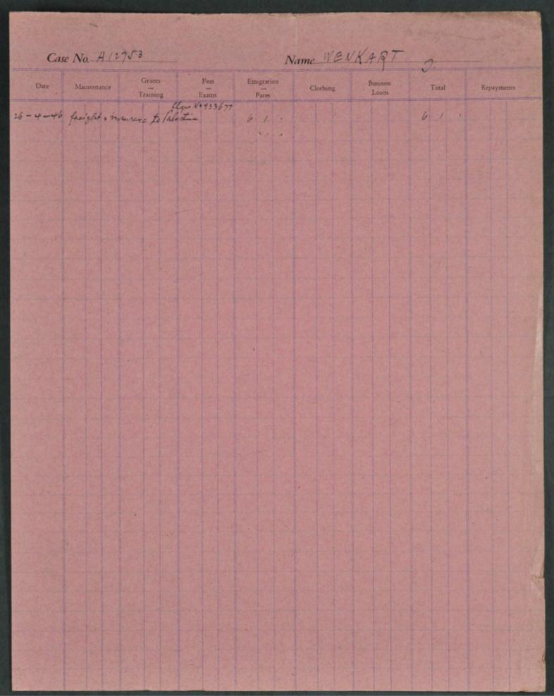 Kitchener camp, Isak Wenkart, German Jewish Aid Committeee forms, page 3