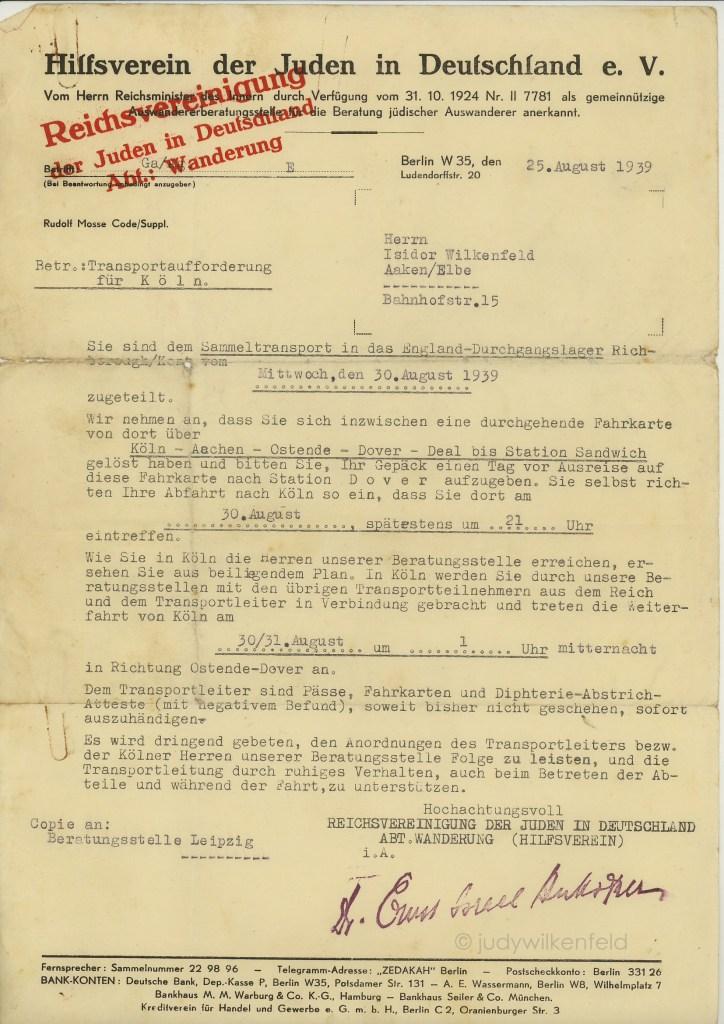 Kitchener camp, Isidor Wilkenfeld, Hilfsverein, Letter, 25 August 1939