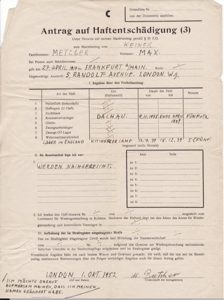 "Kitchener camp, Richborough, Max Metzger, ITS Documents from the Wiener Library, ""Lager (camp) in England"" from 13 July 1939 to 18 December 1939"