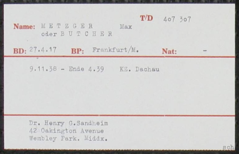Kitchener camp, Richborough, Max Metzger, KZ Dachau - Record card, ITS Documents from the Wiener Library