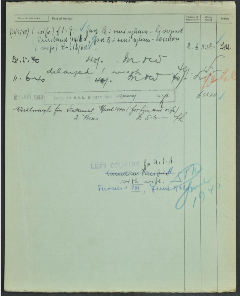Kitchener camp, Ernst Desiatnik, Arrival card, Arrival date 24 April 1939, German Jewish Aid form, page 2
