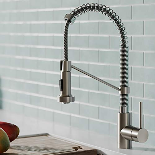 kraus kpf 1610sfsch bolden 18 inch commercial kitchen faucet with dual function pull down sprayhead in all brite finish