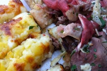 pizzarium, pizza, roasted ptatoes, roast beef, rome
