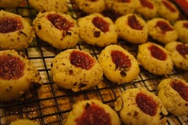 Oregon hazelnut thumbprints with raspberry jam