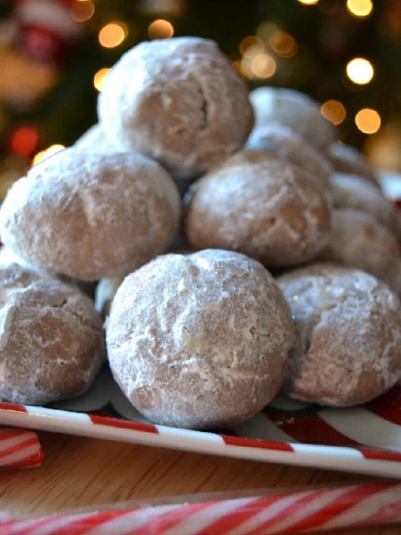 chocolate and hazelnut snowball cookies