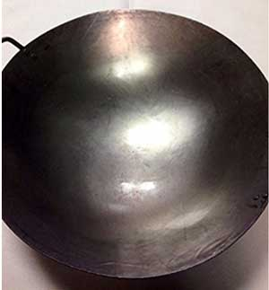 16 inch Carbon Steel Hand Hammered Wok (wok ring not included)