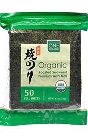 2. ONE ORGANIC Sushi Nori Premium Roasted Organic Seaweed (50 Full Sheets)