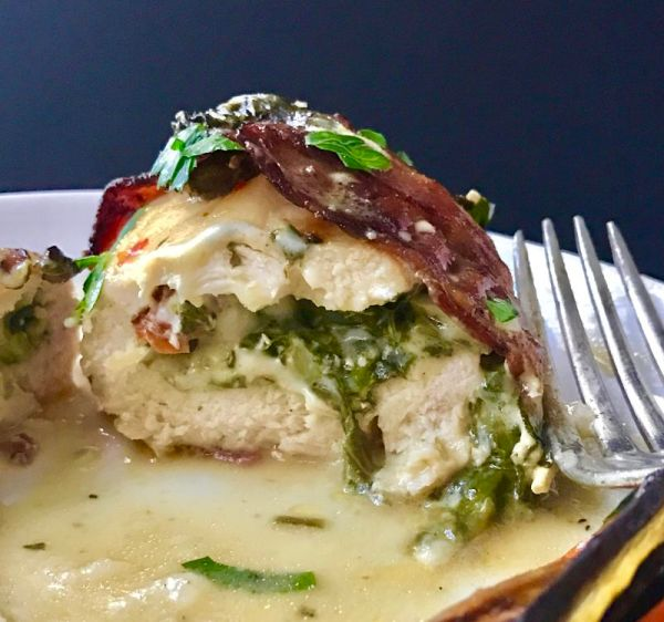 Bacon Wrapped Spinach Stuffed Chicken