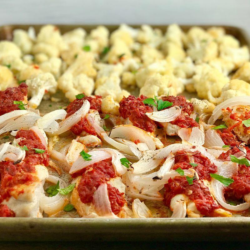 Sheet Pan Harissa Chicken and Vegetables
